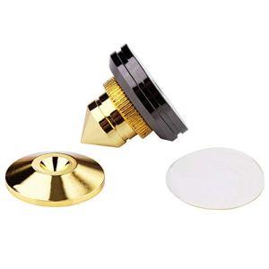 SQUAREDO 1 Set de Piques en cuivre pour Haut-Parleur HiFi, amplificateur Audio, CD, Support d'isolation Audio, Pieds Coniques, Coussinet de Base résistant aux Chocs avec adhésif Double Face