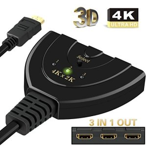 Switch HDMI, Ablewe 4k@30Hz Switcher HDMI Commutateur 3 Entrées 1 Sortie HDMI Sélecteur Splitter HD 3D pour Xbox PS3 PS4 Roku Fire TV Blue-Ray DVD Player etc.