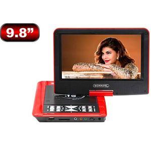 TOOSGD 9.8 Zoll Tragbarer Lecteur DVD, Home DVD-Player 270 Grad Drehbares HD Display, Unterstützt USB Und SD Karte, Lecteur HD DVD,Rouge