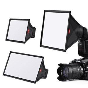 TYCKA Flash Diffuseur Softbox Kit (Universel, Pliable) Comprend 15 x13cm, 23 x 18cm, 33 x 20cm pour Nikon, Canon, Sony, Yongnuo et Autres Reflex numériques