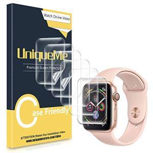 UniqueMe [6 pièces] Protection écran pour Apple Watch 44mm (séries 4/5) / 42mm (séries 3/2/1), [Adsorption anhydre] [Film Flexible] Soft HD TPU Clear Anti-Rayures
