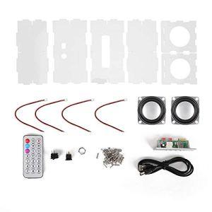 VBESTLIFE Kit de Bricolage de Haut-Parleur, kit de Haut-Parleur Bluetooth Bricolage Pack de Musique MP3 Son stéréo Mini amplificateur de Puissance 3W avec télécommande/Deux Haut-parleurs(Transparent)