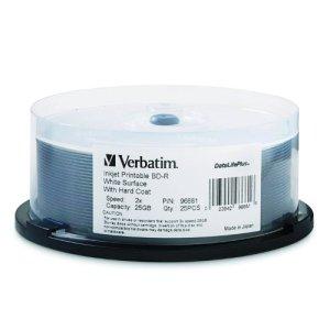 Verbatim BD-R 25GB 2X DataLifePlus White Inkjet Printable 25pk Spindle 25Go – Disques HD Vierges (Fuseau, 25 Go)