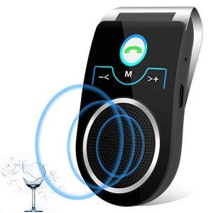 [Version français] Aigital Kit Mains Libres Bluetooth 4.2 Portable Voiture avec Instruction GPS,Musique, élimination du Bruit,Vous Pouvez connecter Deux téléphones en même Temps