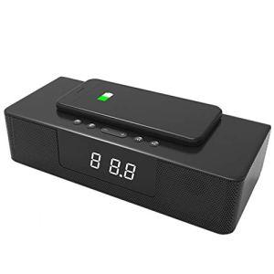 WXJHA 10W Chargeur sans Fil Audio numérique sans Fil de Charge Réveil Maison stéréo FM Radio Theater à Distance LED de Commande Affichage Haut-Parleur Bluetooth