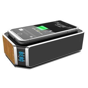 WXJHA Chargeur sans Fil Bluetooth Haut-Parleur sans Fil QI avec Lampe LED Chevet Affichage de l'heure de réveil avec Tous Les périphériques sans Fil Idéal pour Votre Table de Chevet
