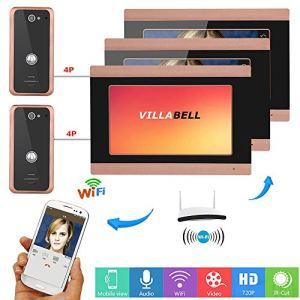 ZY 7 Pouces 3 Moniteur Filaire WiFi vidéo Sonnette téléphone Sonnette Talkie-walkie système d'entrée avec 2X 1000TVL câble caméra Vision Nocturne, Soutien à Distance APP intercom