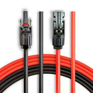 ANFIL 6 mètres 10 AWG Câble d'extension pour panneau solaire avec connecteurs MC4 femelle et mâle Kit d'adaptateur (6m Rouge + 6m Noir)
