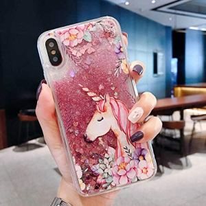 GGOII Cas de téléphone Quicksand Liquid Protection Back for Xiaomi Mi 5X A1 ​​6X A2 8 9 Se Lite Pocophone F1 Dynamic Glitter Brown Bear Phone Case Cover, big Unicorn, for Xiaomi 9