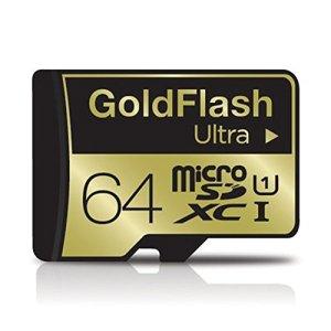 Goldflash Tarjeta de Memoria Ultra Micro SDXC UHS-I carte mémoire pour Nikon, Olympus Extreme 64Go Class10TLC