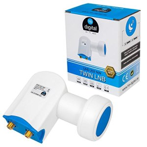 HB-DIGITAL Ultra HD Twin LNB Blanc – UHD 4K Full HD DVB-S/S2 – Facteur de bruit de 0,1 dB – pour deux récepteurs satellite (connexion directe) – Contacts dorés – Protection contre les intempéries