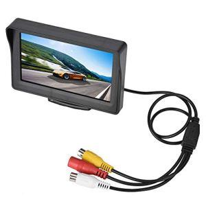 Kafuty Moniteur de Voiture de 4,3 Pouces, écran LCD caméra de recul pour Voiture, 2 canaux AV + câbles d'alimentation Standard Moniteur de caméra de Sauvegarde de sécurité de Voiture, Plug and Play