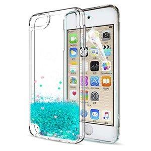 LeYi Coque ipod Touch 6 / 5th Paillette Etui avec Film de Protection écran, Fille Personnalisé Liquide Flottant Transparente 3D Silicone Gel Antichoc Housse pour iPod Touch 5th/6th Generation Bleu