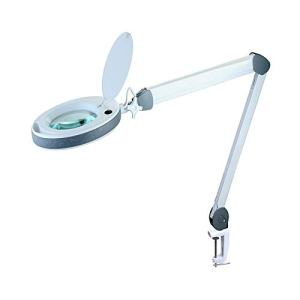 Lumeno Lampe Loupe LED, Série 851X, Gris, Loupe d'agrandissement avec 3 ou 5 dioptries, Lumière cosmétique pour Salon de Beauté, Lampe de Travail Idéal pour Cabinet Médical