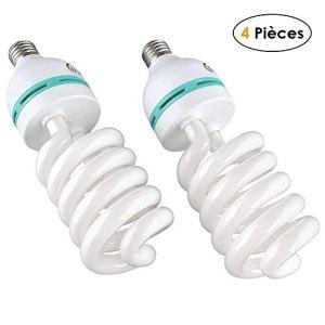 MVPOWER Lot de 4 x 135W E27 Ampoules Lampe de Photographie Lumière du Jour pour Photo Studio Vidéo Daylight Bulb 220V 5500K (4 Pcs)