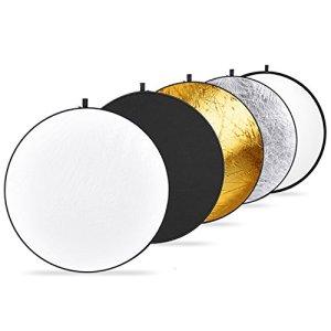 Neewer 30cm/30 * 30Centimetre Portable Réflecteur 5en 1Kit, Translucide, Argent, Or, Blanc et Noir Multi Disc lumière