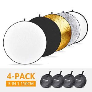 Neewer 4 Pièces 5-en-1 Réflecteurs Disques d'Eclairage Portatifs Photographique avec Sacs de Transport -Translucent, Argent, Or, Blanc et Noir 110cm pour Photographie