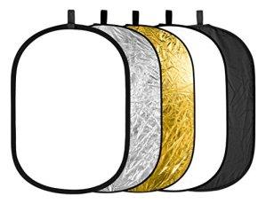 Neewer 5 en 1 Pliable Réflecteur de Lumière 60x90cm 24x36inch Doré Argent Noir Blanc Translucide Pour Studio Vidéo Photographie
