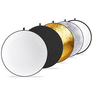 Neewer Réflecteur Rond 5-en-1 de Lumière Multi-Disque Rabattable de 40 cm avec Housse Portable – Translucide, Argent, Or, Blanc et Noir pour Studio ou Toute Situation Photographique