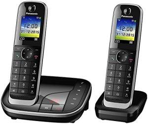 Panasonic téléphone sans fil KX-TGJ322GB Duo avec répondeur (version allemande!) – noir – incl. 1 zusätzliches extra combiné supplémentaire + Chargeur de table