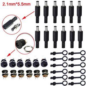 RUNCCI-YUN – Lot de 12 Prises d'alimentation CC de Dimensions 5,5 mm x 2,1 mm – Prises de connecteur filetées à 3 Broches + Lot de 12 Bouchons de Protection en Caoutchouc