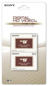Sony Cassette MiniDV pour caméscope Sans IC Memory Blister de 2 63 mn Qualité HDV 2DVM63HDV-BT