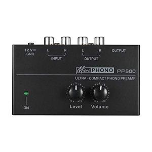 Suading PréAmplificateur de PréAmpli Phono Ultra-Compact Pp500 avec Contr?Les de Niveau et de Volume EntréE et Sortie RCA Interfaces de Sortie de 1/4 Po, Fiche EuropéEnne