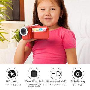 Tangxi Caméscope caméra vidéo 16X HD, écran TFT Couleur 2 Pouces Vlogging Camera Recorder Support Video-AVI, caméscope DV numérique Photo-JPEG Cadeau pour Anniversaire, Noël, Vacances(Rouge)