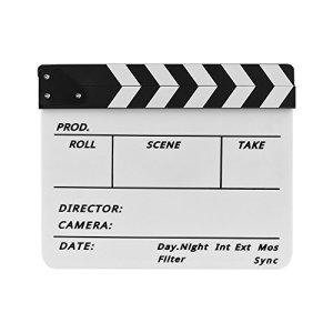TOPTOO Dry Erase Acrylique Réalisateur Film Clapet Film TV Cut Action Scène Clapper Conseil Ardoise avec Marqueur Pen, Noir/Blanc Bâton, Blanc