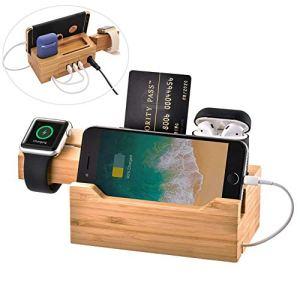 YLOVOW Stations de Recharge en Bambou pour Plusieurs appareils, Organiseur de Station d'accueil pour téléphone Portable, Tablette, Chargeur de Montre USB