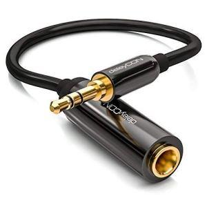 deleyCON 0,2m Câble Adaptateur Jack Stéréo Audio – Jack Mâle 3,5mm vers Jack Femelle 6,3mm – Jack Mâle & Femelle Doré – Noir