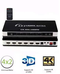 HDMI Switch 4K, Splitter True Matrix 4×2 Commutateur 4 Entrées & 2 Sortie 4K 3D Automatique avec Télécommande, HDCP, PIP Arc EDID SPDIF 3.5 mm et RCA, Audio Extracteur