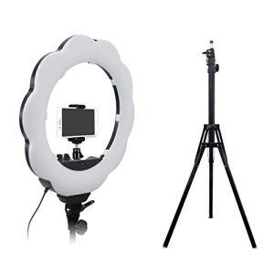 Lumière De Remplissage De l'anneau avec Support De Lumière Luminosité Réglable Selfie Smartphones Lumière Supplémentaire avec Miroir De Maquillage 18in pour Maquillage, Vidéaste, Ancre