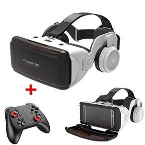 QHAI VR Casque avec télécommande, Lunettes 3D Casque de Réalité Virtuelle pour VR Jeux et Films 3D, avec Bluetooth Rocker