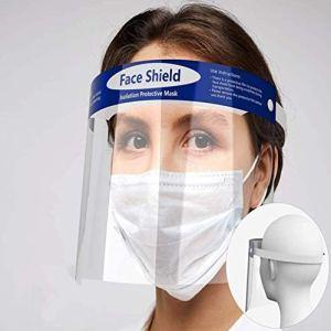 Qsdd Sécurité Visière de Protection Visage,Élastique et Éponge de Confort Protection Intégrale Ajustable Anti-Brouillard Poids Léger Transparent Face Shield pour Hommes et Femmes-(5 PCS)