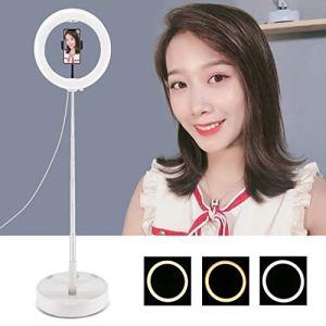 Ring Light,Selfie Ring Light, 10,2 pouces 26cm USB 3 Modes Dimmable double température de couleur LED courbes anneau Vlogging selfie Photographie Torches Vidéo avec Folding Bureau Support et téléphone