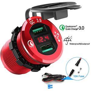 Rocketek Quick Charge 3.0 Chargeur USB, Double Prise de Courant USB Adaptateur Allume-Cigarette étanche Charge Rapide 36W Charge avec LED Voltmètre pour 12V / 24V Bateau Moto ATV Bus Camion SUV