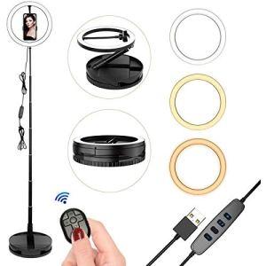 10 Anneaux Lumineux avec Support pour Trépied Lampe de Table à LED pour Appareil Photo Selfie