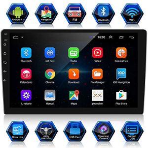 ANKEWAY 2 DIN 10,1 Pouces Android 9,1 Autoradio Navigation GPS 1080P HD Écran Tactile Autoradio Bluetooth/WiFi Autoradio 1G/16G Multimédia Autoradio+WiFi Internet Tethering+Caméra de recul+Microphone