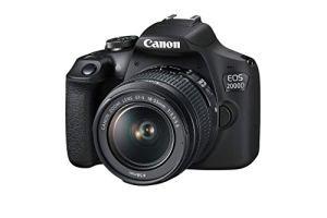 Canon EOS 2000D + EF-S 18-55mm f/3.5-5.6 III Kit d'appareil-Photo SLR 24,1 MP CMOS 6000 x 4000 Pixels Noir – Appareils Photos numériques (24,1 MP, 6000 x 4000 Pixels, CMOS, Full HD, Noir)