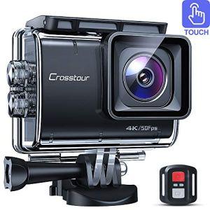 Crosstour CaméraSport Native 4K 50fps Écran Tactile EIS Caméra Étanche avec Télécommande WiFi Et Kit D'accessoires Complet