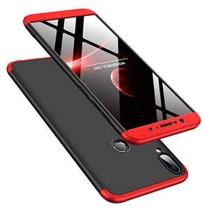 DECHYI Compatible pour Coque ASUS Zenfone Max Pro M2,Cover + Verre trempé Matte Ultra Slim Cover PC Hard Case Rouge Noir