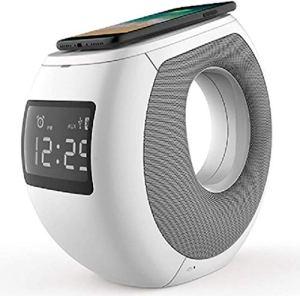HAOHAO QI réveil Charge sans Fil Radio-réveil numérique, Haut-Parleur Bluetooth de Charge sans Fil Intelligent Affichage de l'heure LCD Radio FM Horloge de Table Mains Libres
