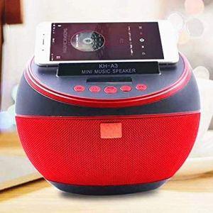 HAOHAO QI Tissu de Recharge sans Fil réveil Haut-Parleur Bluetooth, Tissu Rond Handyhalter Audio Horloge de Bureau Magasin sans Fil, Table FM Radio Mini Musique Horloge, Rouge,Rouge