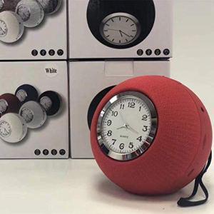 HAOHAO Réveil Ronde en Tissu Haut-Parleur Portable Bluetooth, horloges de Bureau Radio FM Audio Bluetooth Mains Libres en Plein air, pointeur d'horloge de Bureau numérique, Bleu,Rouge