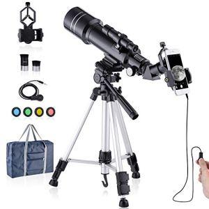HUTACT Télescope Réfracteur HD 400/70mm pour Enfants Adultes Télescope Astronomique – Observer la Lune, Observer Les Oiseaux, Visionnage de Paysages Sauvages, Visionnage de Paysages Citadins