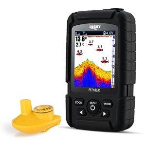 LUCKY Détecteur De Poisson Portable Sans Fil étanche Jusqu'à 45 m/147feet Sonar Fishfinder Ocean River Lake Couleur Fishfinder