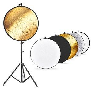 Neewer Photo Studio Kit de Réflecteur de Lumière et Support Lumineux: 110 cm 5-en-1 Réflecteur Multi-Disque, Support Lumineux et Porte-Réflecteur en Métal pour Photo Vidéo Portrait Photographie