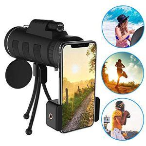 Objectif pour téléphone 40X60 Zoom pour Smartphone télescope monoculaire Portée Caméra Camping Randonnée Pêche avec Compass Phone Clip Trépied
