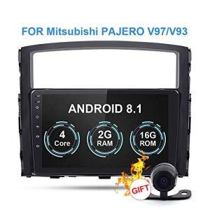 RISHENG Lecteur multimédia DVD de Cassette de Voiture – Caméra arrière de Navigation GPS 8.1 avec Android 8.1 Android 2.1 – pour Mitsubishi Pajero 2006-2014,B